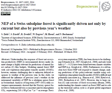 NEP of a Swiss subalpine forest is significantly driven not only by...