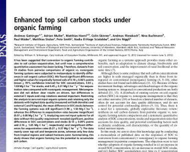 Enhanced top soil carbon stocks under organic farming