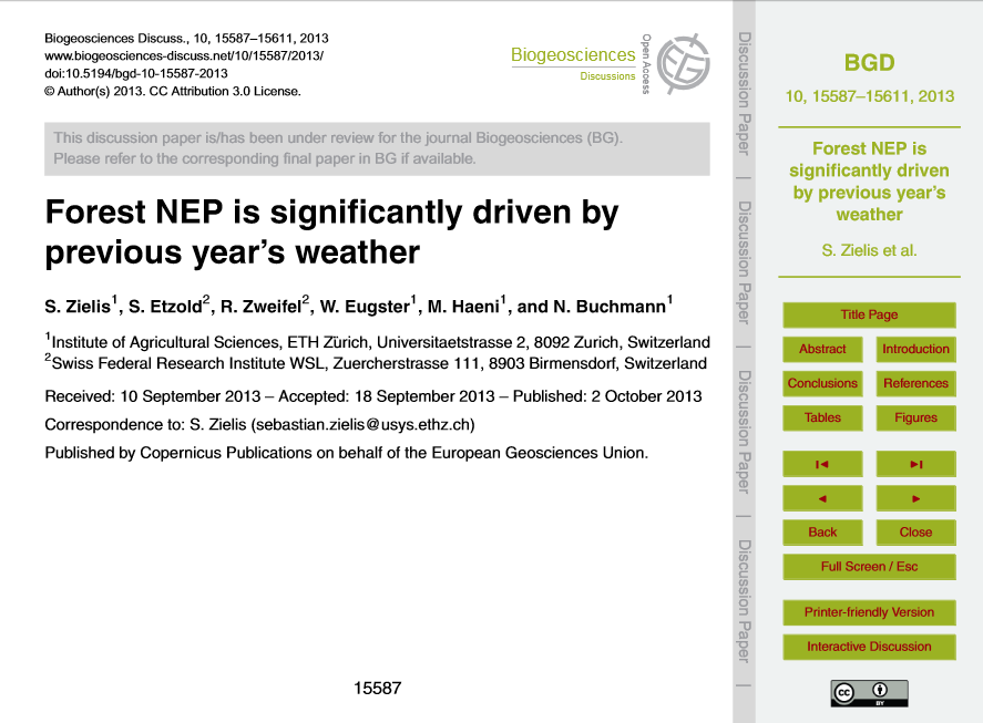 Forest NEP is significantly driven by previous year's weather