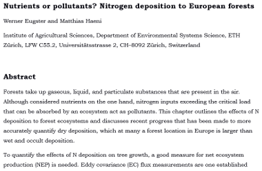 Nutrients or pollutants? N deposition to European forests