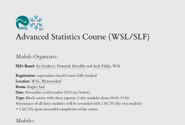 Advanced Statistics Course 2015 @ WSL